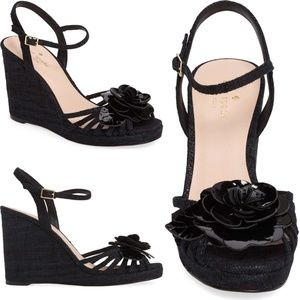 Kate Spade Flower Strappy Black Wedge